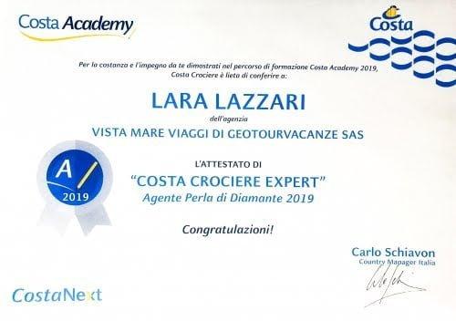 certificato Costa Extra 2019